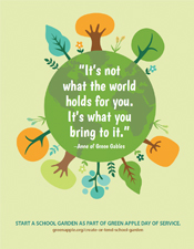 green apple poster with quote about participation